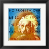 Einstein – No Problem Quote Framed Print