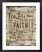 Faith in Multiple Languages Framed Print