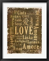 Love in Multiple Languages Framed Print