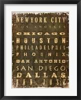 Framed US Cities