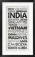 Asia Countries I Framed Print