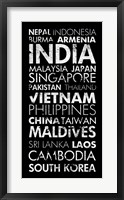 Asia Countries II Framed Print