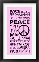 Pink Peace Languages Framed Print