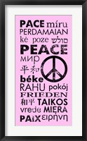 Framed Pink Peace Languages
