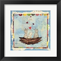 Framed Blue Love Birds Square