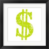Framed Lime Dollar Sign