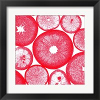 Red Lemon Slices Framed Print