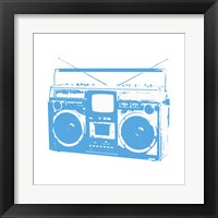 Blue Boom Box Framed Print