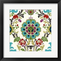 Jewel-tone Damask I Framed Print