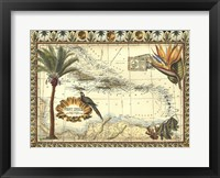 Tropical Map of West Indies Framed Print