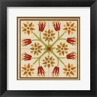Floral Folk Tile II Framed Print