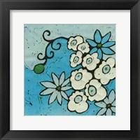 Framed Aqua Batik Botanical IV