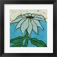 Framed Aqua Batik Botanical VI