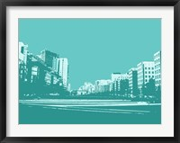 Framed City Block on Blue