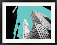 Framed New York on Blue