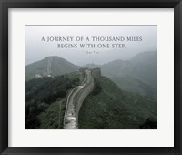 Framed Journey Of A Thousand Miles Quote