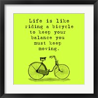 Framed Lime Einstein Bicycle Quote