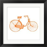 Framed Orange On White Bicycle