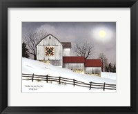Framed Christmas Star Quilt Block Barn