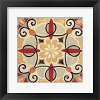 Framed Bohemian Rooster Tile Square II