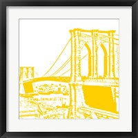 Yellow Brooklyn Bridge Framed Print