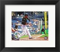 Framed Starling Marte Hitting Baseball