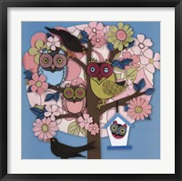 Framed Summer Owl Tree