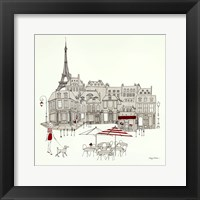 World Cafe II - Paris Red Framed Print