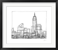 Wire Frame Cityscape I Framed Print