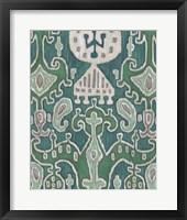 Emerald Ikat I Framed Print