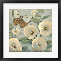 Butterfly & Hollyhocks II Framed Print