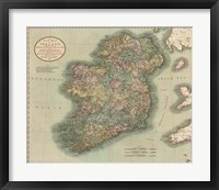 Framed Vintage Map of Ireland
