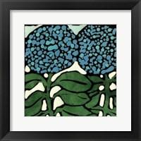 Framed Teal Batik Botanical V