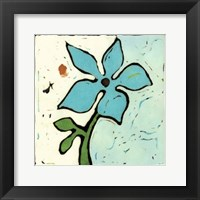 Framed Teal Batik Botanical VI
