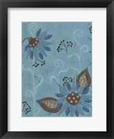 Framed Whimsical Blue Floral I