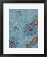 Framed Whimsical Blue Floral II