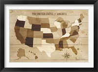 USA Modern Vintage Wood Framed Print