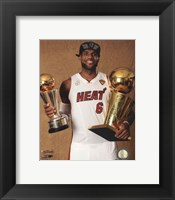 Framed LeBron James with the NBA Championship & MVP Trophies Game 7 of the 2013 NBA Finals