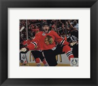 Framed Patrick Kane celebrating first goal Game 5 of the 2013 Stanley Cup Finals