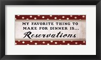 Dinner Reservation Framed Print