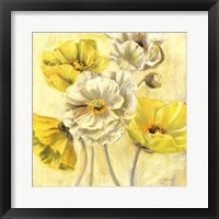 Framed Gold and White Contemporary Poppies I