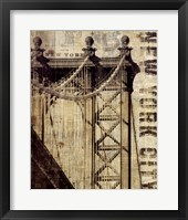 Framed Vintage NY Manhattan Bridge