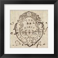 Letter Crest I Framed Print