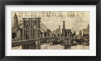 Framed Vintage NY Brooklyn Bridge Skyline