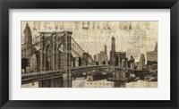 Framed Vintage NY Brooklyn Bridge Skyline
