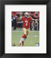 Framed Colin Kaepernick throwing the ball 2013