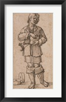 Framed Young Peasant Holding a Jar