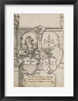 Framed Stained-Glass Design with Two Coats of Arms