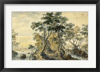 Framed River Landscape with House on a Rocky Island