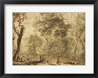 Framed Woodland Landscape with Nymphs and Satyrs